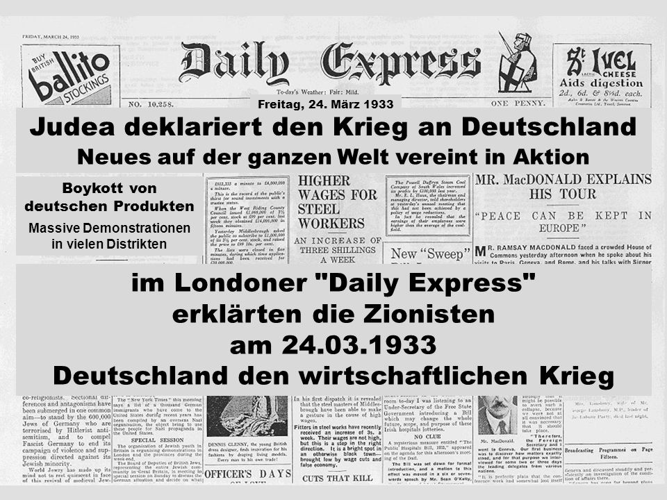 Massive Demonstrationen in vielen Distrikten Judea deklariert den Krieg an Deutschland boykottiert deutsche Produkte