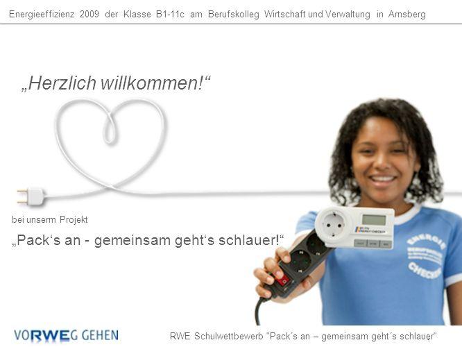 Energieeffizienz 2009 der Klasse B1-11c am Berufskolleg Wirtschaft und Verwaltung in Arnsberg bei unserm Projekt Packs an - gemeinsam gehts schlauer.