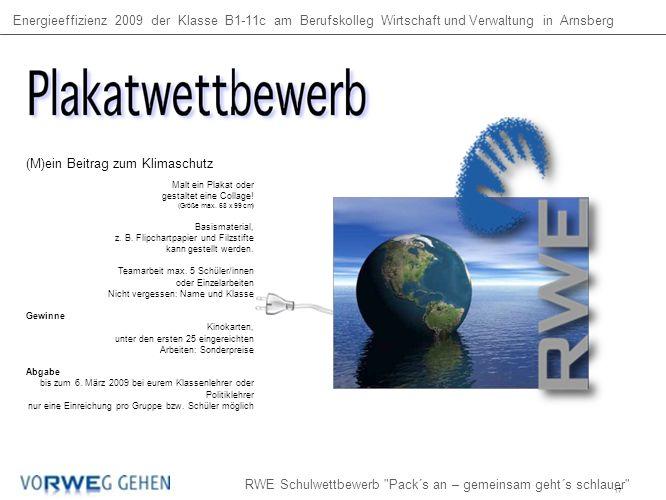Energieeffizienz 2009 der Klasse B1-11c am Berufskolleg Wirtschaft und Verwaltung in Arnsberg RWE Schulwettbewerb Pack´s an – gemeinsam geht´s schlauer (M)ein Beitrag zum Klimaschutz Malt ein Plakat oder gestaltet eine Collage.