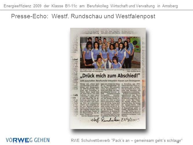 Energieeffizienz 2009 der Klasse B1-11c am Berufskolleg Wirtschaft und Verwaltung in Arnsberg RWE Schulwettbewerb Pack´s an – gemeinsam geht´s schlauer Presse-Echo: Westf.