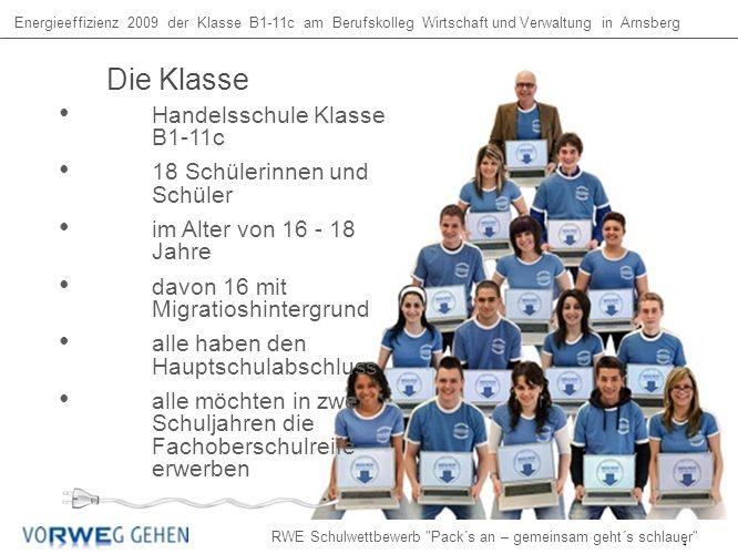 Handelsschule Klasse B1-11c 18 Schülerinnen und Schüler im Alter von 16 - 18 Jahre davon 16 mit Migratioshintergrund alle haben den Hauptschulabschluss alle möchten in zwei Schuljahren die Fachoberschulreife erwerben Die Klasse Energieeffizienz 2009 der Klasse B1-11c am Berufskolleg Wirtschaft und Verwaltung in Arnsberg RWE Schulwettbewerb Pack´s an – gemeinsam geht´s schlauer 4