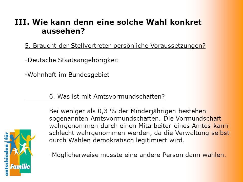 III. Wie kann denn eine solche Wahl konkret aussehen? 5. Braucht der Stellvertreter persönliche Voraussetzungen? -Deutsche Staatsangehörigkeit -Wohnha
