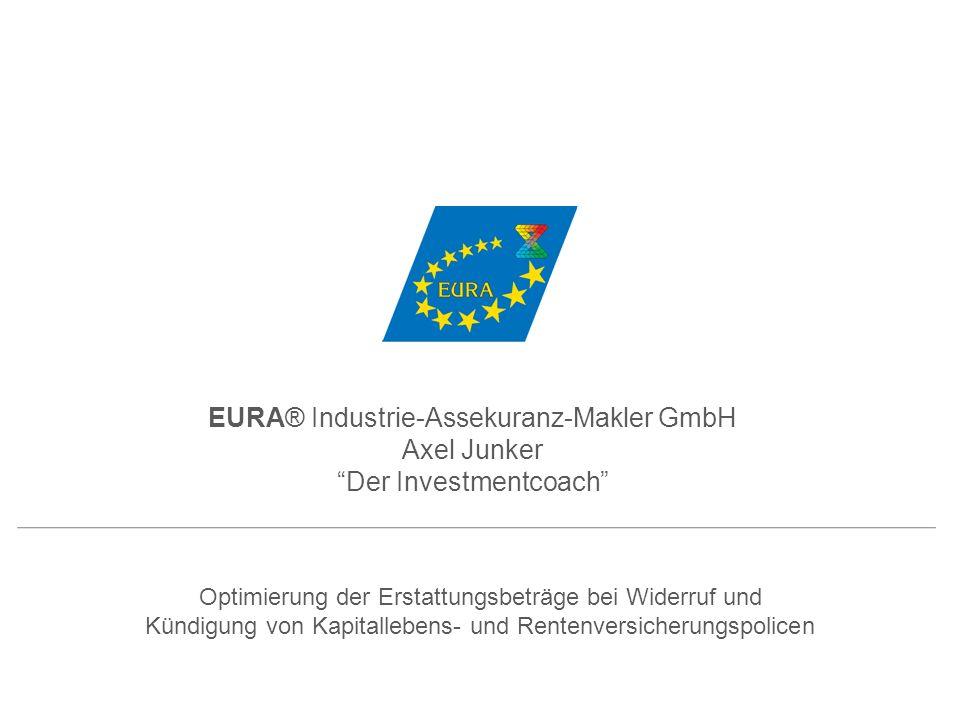Optimierung der Erstattungsbeträge bei Widerruf und Kündigung von Kapitallebens- und Rentenversicherungspolicen EURA® Industrie-Assekuranz-Makler GmbH