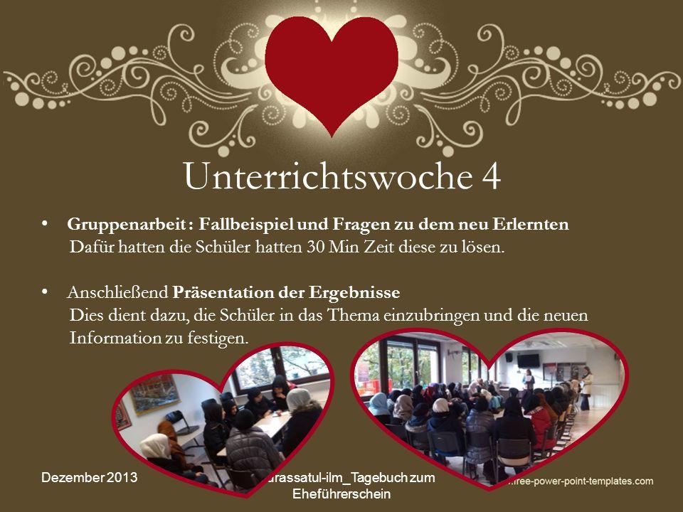 Unterrichtswoche 16 (2) Elternfrühstück Dezember 2013Madrassatul-ilm_Tagebuch zum Eheführerschein