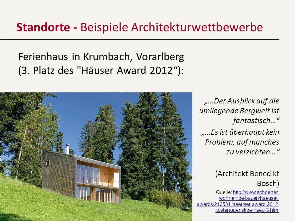 Standorte - Beispiele Architekturwettbewerbe Ferienhaus in Krumbach, Vorarlberg (3. Platz des