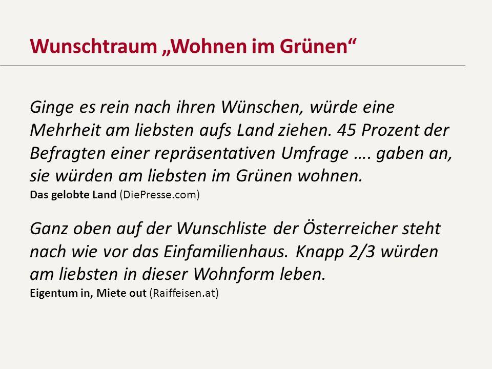 Flächeninanspruchnahme in Österreich Geringes Bevölkerungswachstum: +1,2 % (2009–2012) Gestiegene Flächeninanspruchnahme: +4,8 % Täglicher Verbrauch für Siedlungs- und Verkehrstätigkeit: 7 ha Gesamtflächenverbrauch (inkl.