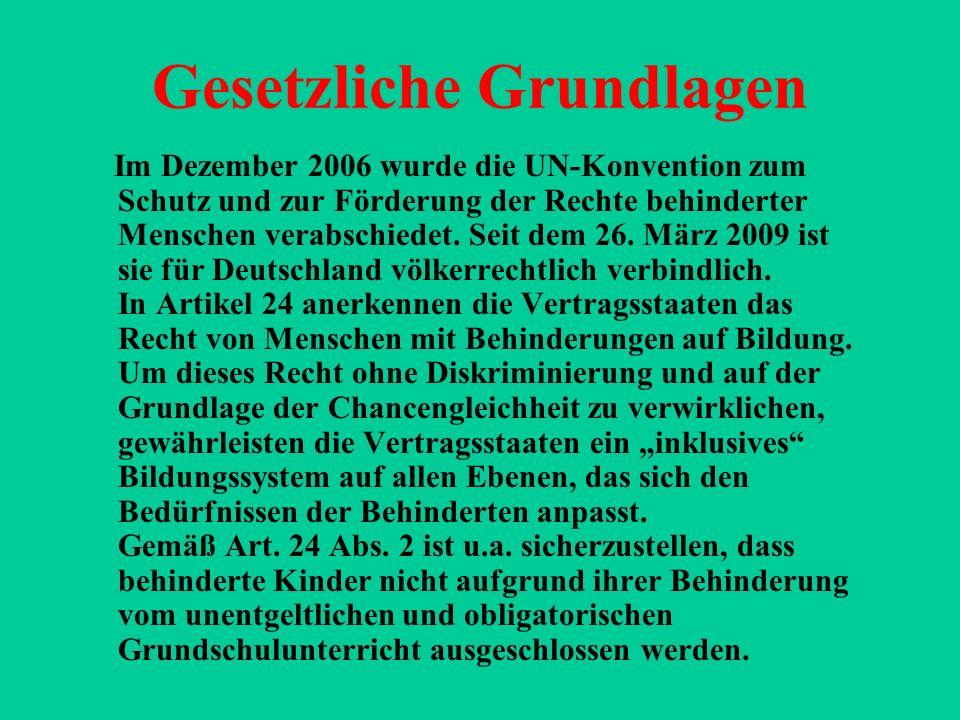 Gesetzliche Grundlagen Im Dezember 2006 wurde die UN-Konvention zum Schutz und zur Förderung der Rechte behinderter Menschen verabschiedet. Seit dem 2