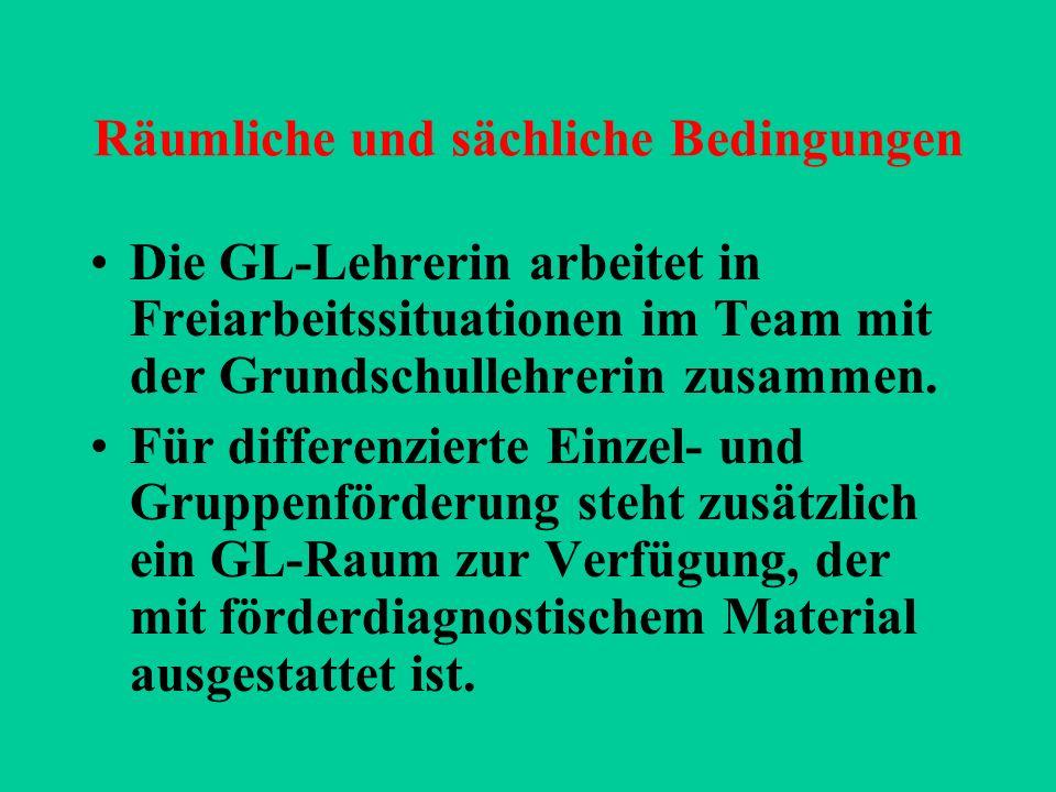 Zuständigkeiten Vorrangige Verantwortung der GL-Lehrerin: Förderplanung Jährliche Überprüfung des sonderpädagogischen Förderbedarfs Förderdiagnostik Beratung bei AO-SF-Anträgen Entwicklung eines Förderkonzeptes der Schule