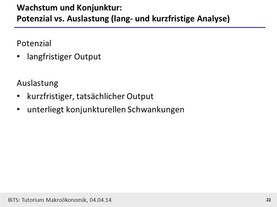 BiTS: Tutorium Makroökonomik, 04.04.14 22 Wachstum und Konjunktur: Potenzial vs. Auslastung (lang- und kurzfristige Analyse) Potenzial langfristiger O