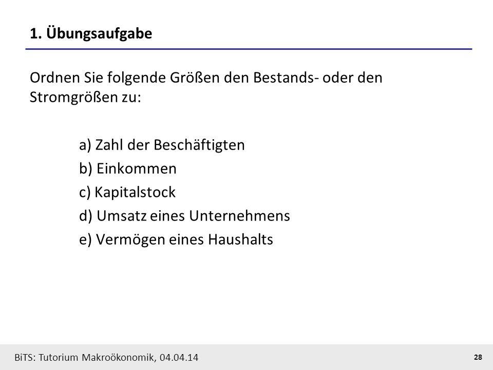 BiTS: Tutorium Makroökonomik, 04.04.14 28 1. Übungsaufgabe Ordnen Sie folgende Größen den Bestands- oder den Stromgrößen zu: a) Zahl der Beschäftigten