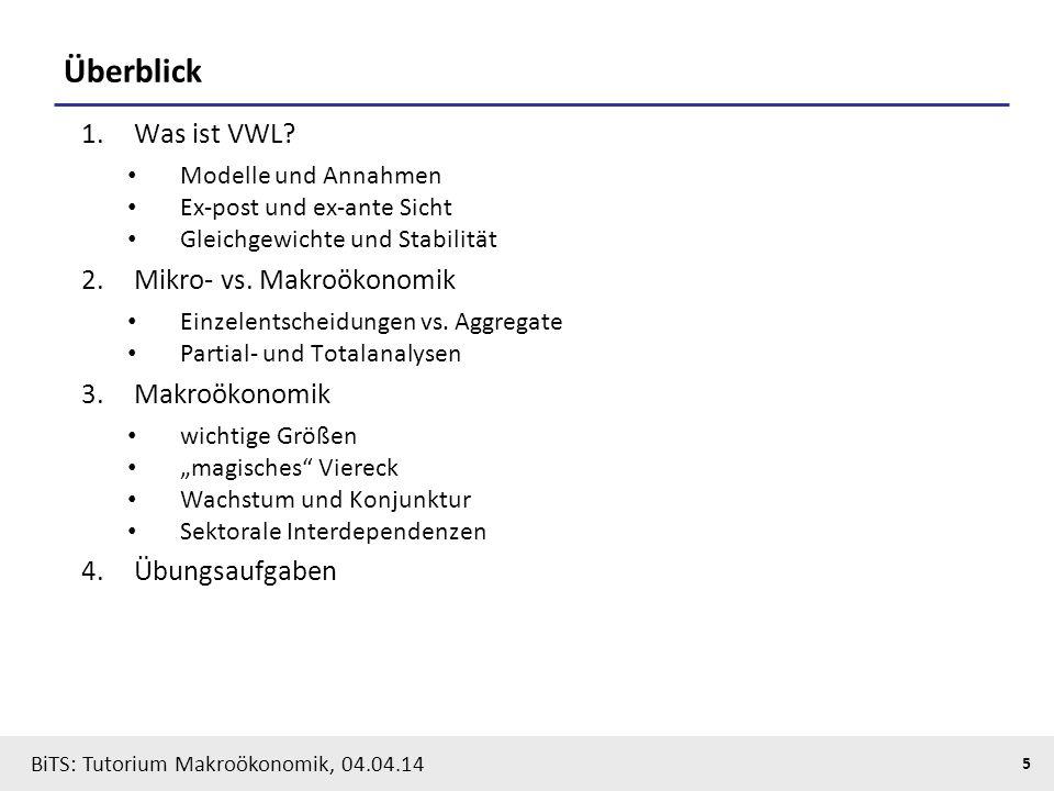 BiTS: Tutorium Makroökonomik, 04.04.14 5 Überblick 1.Was ist VWL? Modelle und Annahmen Ex-post und ex-ante Sicht Gleichgewichte und Stabilität 2.Mikro