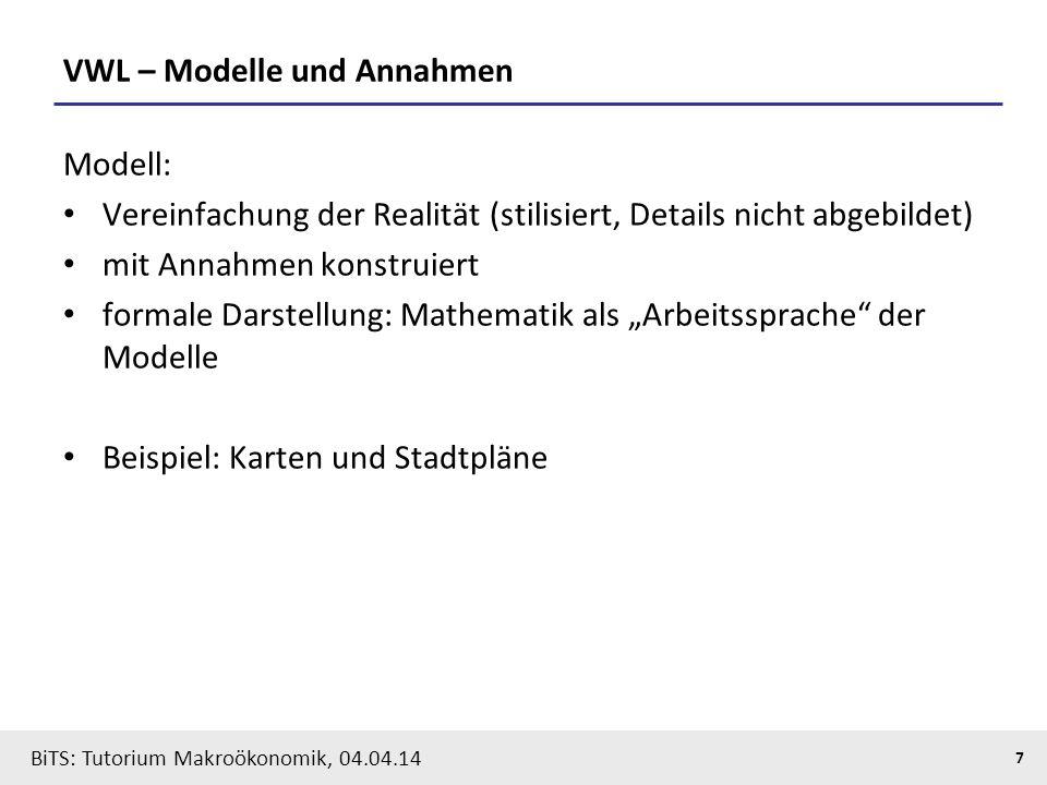 BiTS: Tutorium Makroökonomik, 04.04.14 7 VWL – Modelle und Annahmen Modell: Vereinfachung der Realität (stilisiert, Details nicht abgebildet) mit Anna
