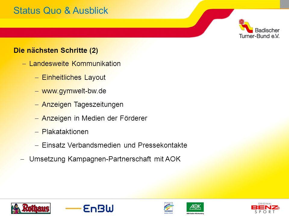 Die nächsten Schritte (2) Landesweite Kommunikation Einheitliches Layout www.gymwelt-bw.de Anzeigen Tageszeitungen Anzeigen in Medien der Förderer Pla