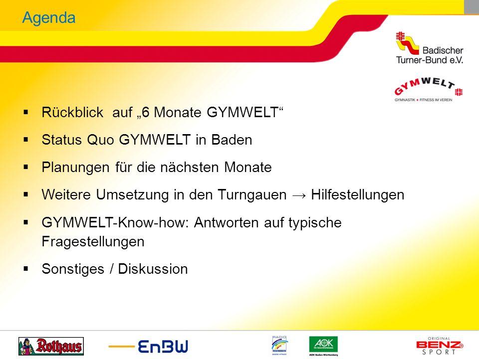 Rückblick auf 6 Monate GYMWELT Status Quo GYMWELT in Baden Planungen für die nächsten Monate Weitere Umsetzung in den Turngauen Hilfestellungen GYMWEL