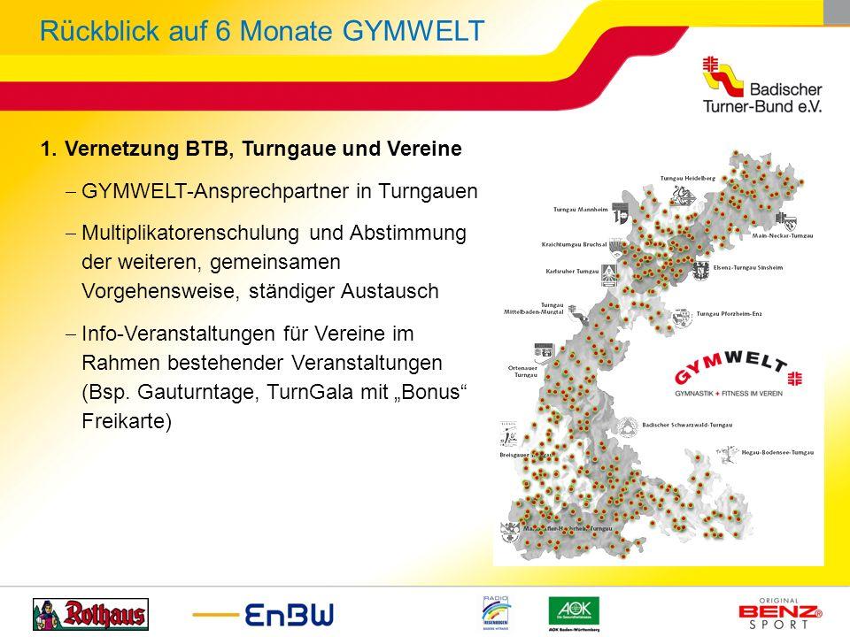 1.Vernetzung BTB, Turngaue und Vereine GYMWELT-Ansprechpartner in Turngauen Multiplikatorenschulung und Abstimmung der weiteren, gemeinsamen Vorgehens