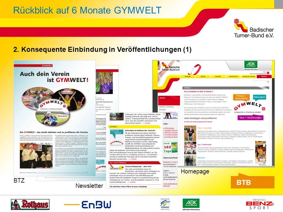 2. Konsequente Einbindung in Veröffentlichungen (1) BTB BTZ Newsletter Homepage