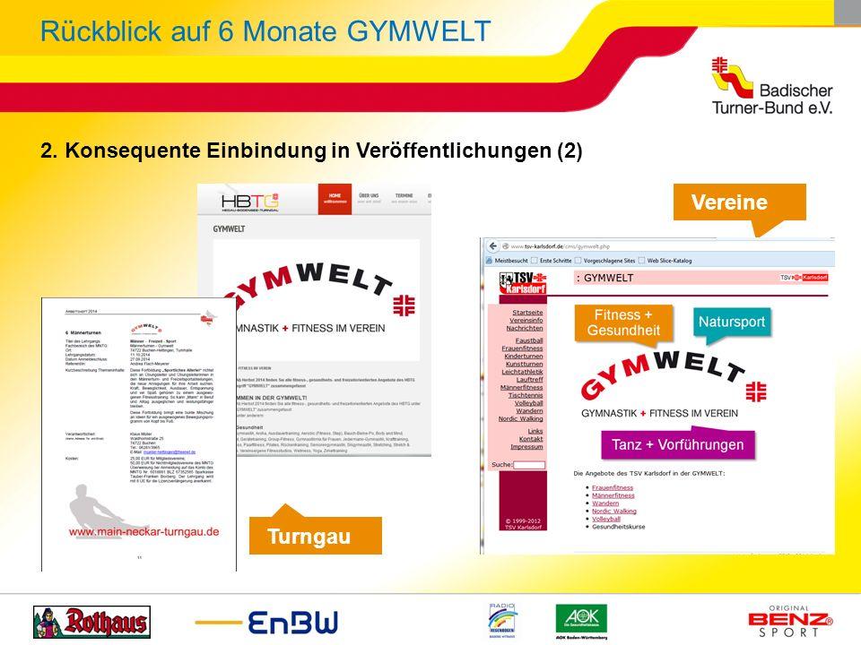 Rückblick auf 6 Monate GYMWELT Vereine Turngau 2. Konsequente Einbindung in Veröffentlichungen (2)