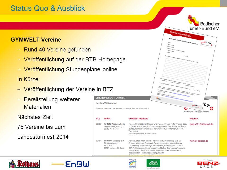 GYMWELT-Vereine Rund 40 Vereine gefunden Veröffentlichung auf der BTB-Homepage Veröffentlichung Stundenpläne online In Kürze: Veröffentlichung der Ver