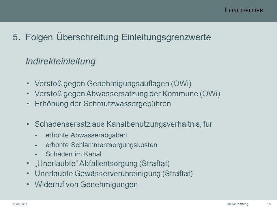 L OSCHELDER 06.05.2014Umwelthaftung15 5.Folgen Überschreitung Einleitungsgrenzwerte IndirekteinleitungVerstoß gegen Genehmigungsauflagen (OWi)Verstoß