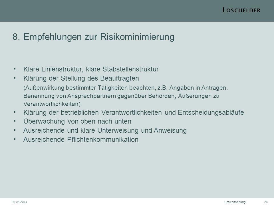 L OSCHELDER 06.05.2014Umwelthaftung24 8.Empfehlungen zur RisikominimierungKlare Linienstruktur, klare StabstellenstrukturKlärung der Stellung des Beau