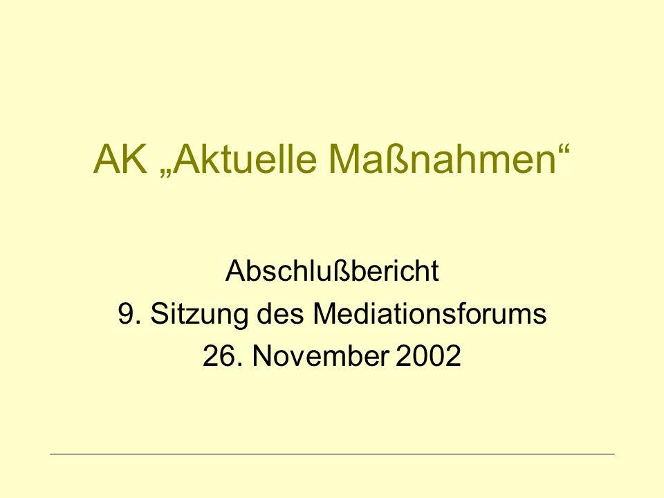AK Aktuelle Maßnahmen Abschlußbericht 9. Sitzung des Mediationsforums 26. November 2002