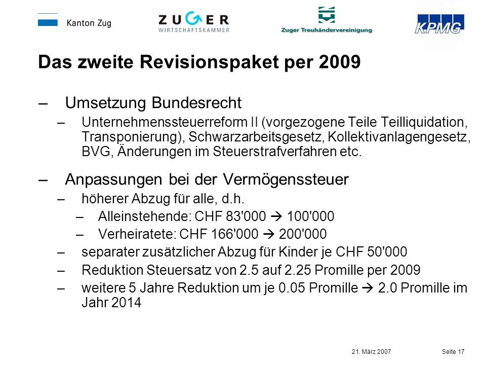 21. März 2007 Seite 17 Das zweite Revisionspaket per 2009 –Umsetzung Bundesrecht –Unternehmenssteuerreform II (vorgezogene Teile Teilliquidation, Tran