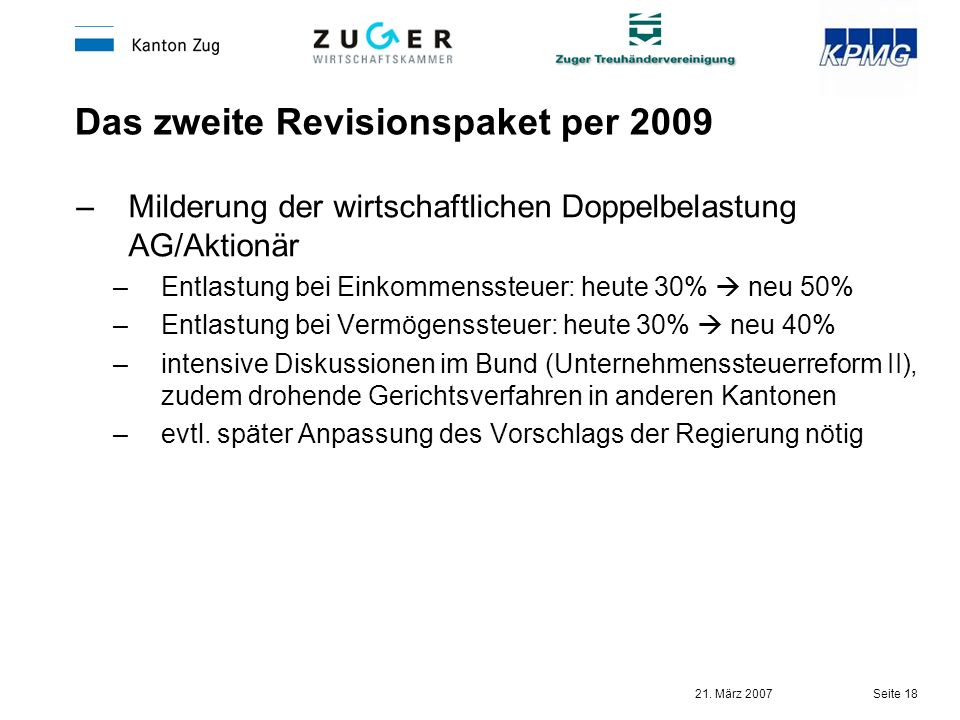 21. März 2007 Seite 18 Das zweite Revisionspaket per 2009 –Milderung der wirtschaftlichen Doppelbelastung AG/Aktionär –Entlastung bei Einkommenssteuer
