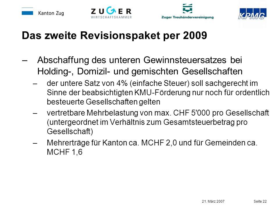 21. März 2007 Seite 22 Das zweite Revisionspaket per 2009 –Abschaffung des unteren Gewinnsteuersatzes bei Holding-, Domizil- und gemischten Gesellscha