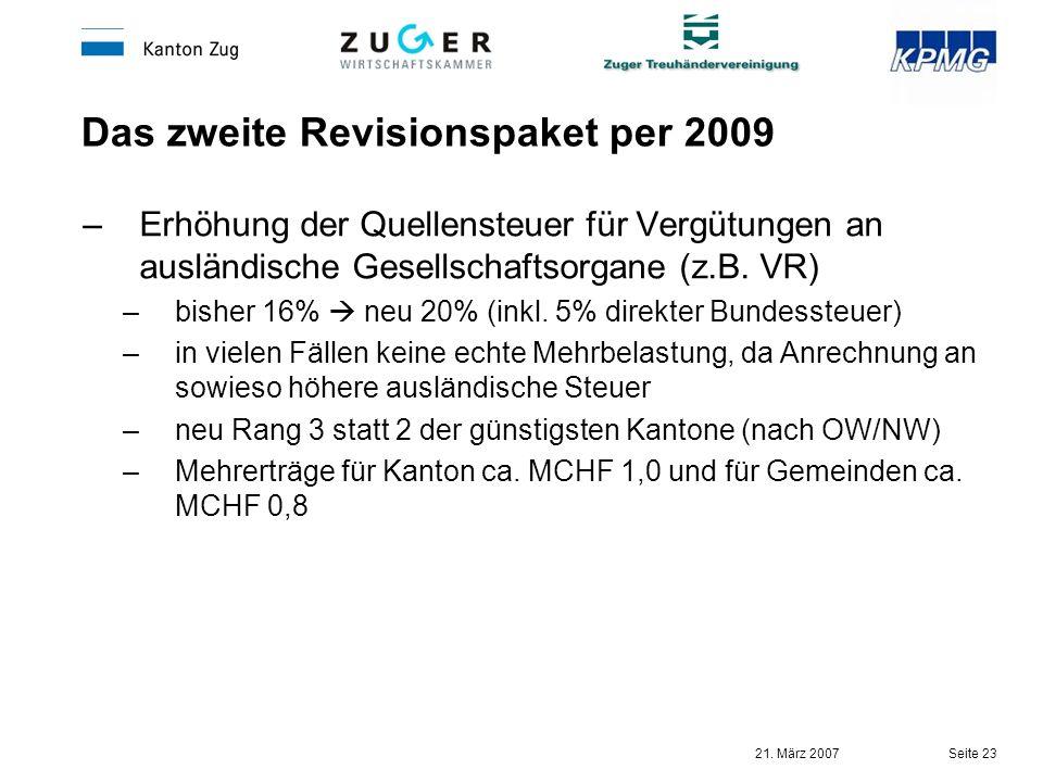 21. März 2007 Seite 23 Das zweite Revisionspaket per 2009 –Erhöhung der Quellensteuer für Vergütungen an ausländische Gesellschaftsorgane (z.B. VR) –b