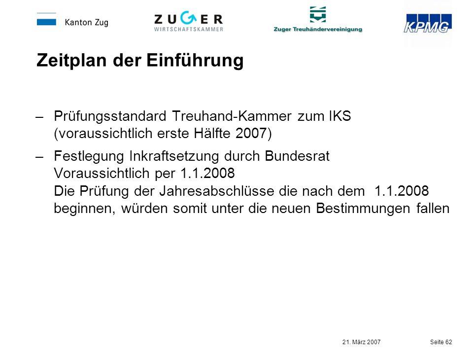 21. März 2007 Seite 62 Zeitplan der Einführung –Prüfungsstandard Treuhand-Kammer zum IKS (voraussichtlich erste Hälfte 2007) –Festlegung Inkraftsetzun