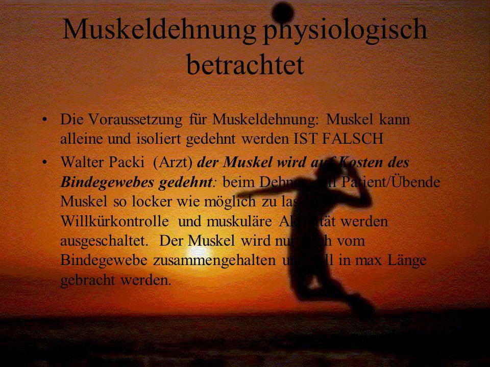 Muskeldehnung physiologisch betrachtet Die Voraussetzung für Muskeldehnung: Muskel kann alleine und isoliert gedehnt werden IST FALSCH Walter Packi (A