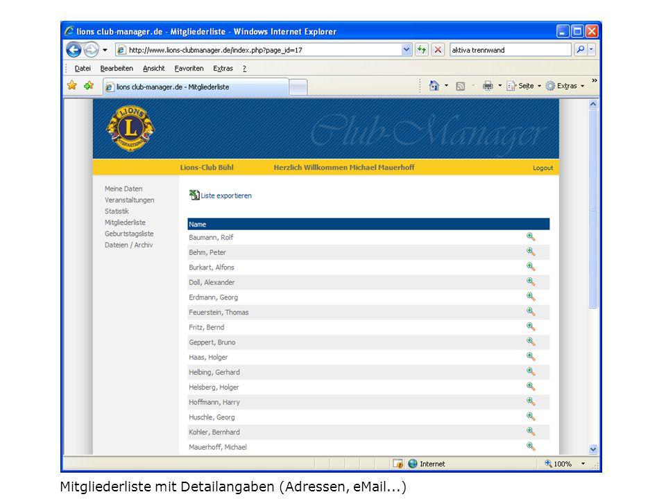 Mitgliederliste mit Detailangaben (Adressen, eMail...)