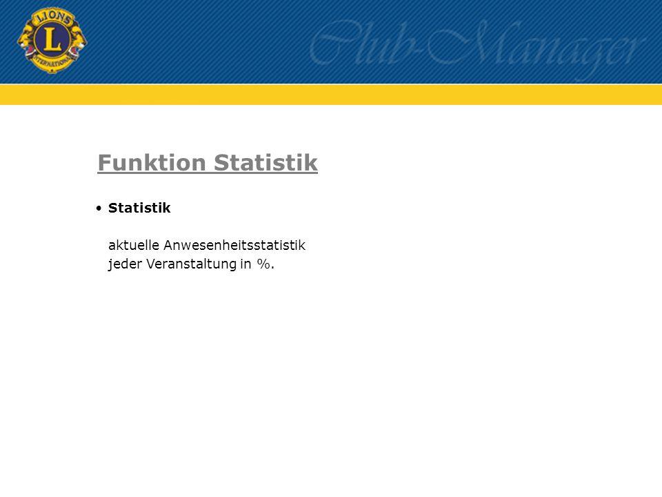 Statistik aktuelle Anwesenheitsstatistik jeder Veranstaltung in %. Funktion Statistik