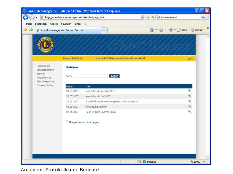 Archiv mit Protokolle und Berichte