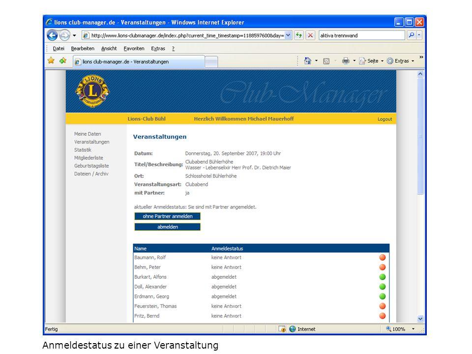 Mitgliederliste und Geburtstagsliste jeder Lionsfreund kann die aktuelle Daten seiner Lionsfreunde des gleichen Clubs online aktuell abrufen um Kontakt zu halten oder zum Geburtstag zu gratulieren.
