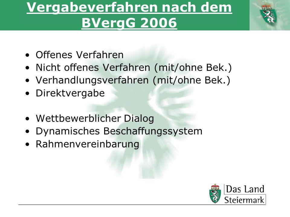 Autor Vergabeverfahren nach dem BVergG 2006 Offenes Verfahren Nicht offenes Verfahren (mit/ohne Bek.) Verhandlungsverfahren (mit/ohne Bek.) Direktverg