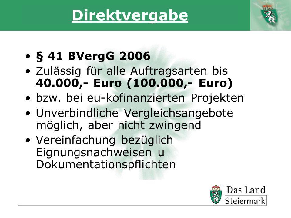 Autor Direktvergabe § 41 BVergG 2006 Zulässig für alle Auftragsarten bis 40.000,- Euro (100.000,- Euro) bzw. bei eu-kofinanzierten Projekten Unverbind