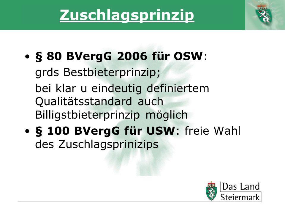 Autor Zuschlagsprinzip § 80 BVergG 2006 für OSW: grds Bestbieterprinzip; bei klar u eindeutig definiertem Qualitätsstandard auch Billigstbieterprinzip möglich § 100 BVergG für USW: freie Wahl des Zuschlagsprinizips