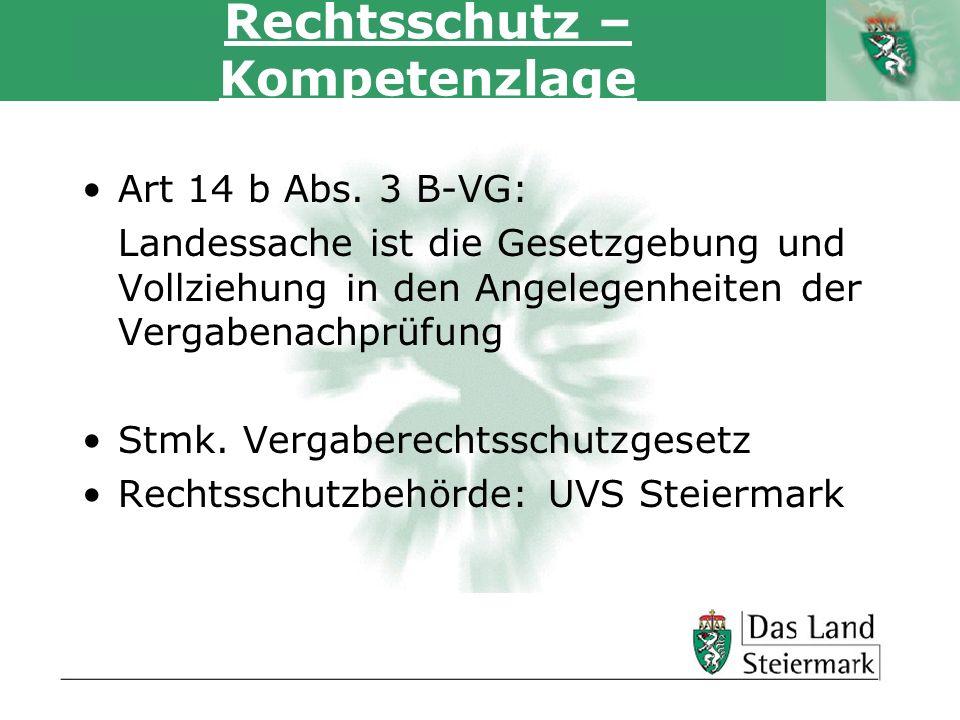 Autor Rechtsschutz – Kompetenzlage Art 14 b Abs. 3 B-VG: Landessache ist die Gesetzgebung und Vollziehung in den Angelegenheiten der Vergabenachprüfun