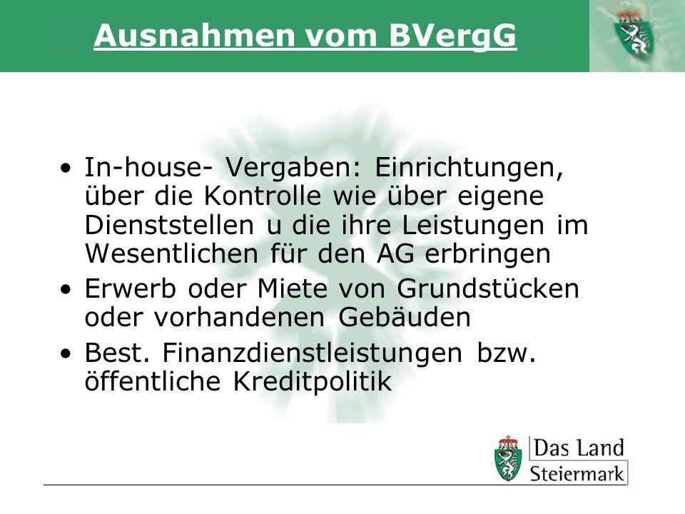 Autor Ausnahmen vom BVergG In-house- Vergaben: Einrichtungen, über die Kontrolle wie über eigene Dienststellen u die ihre Leistungen im Wesentlichen für den AG erbringen Erwerb oder Miete von Grundstücken oder vorhandenen Gebäuden Best.