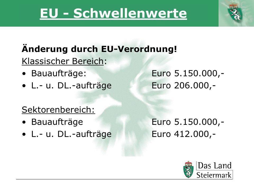 Autor EU - Schwellenwerte Änderung durch EU-Verordnung! Klassischer Bereich: Bauaufträge: Euro 5.150.000,- L.- u. DL.-aufträge Euro 206.000,- Sektoren
