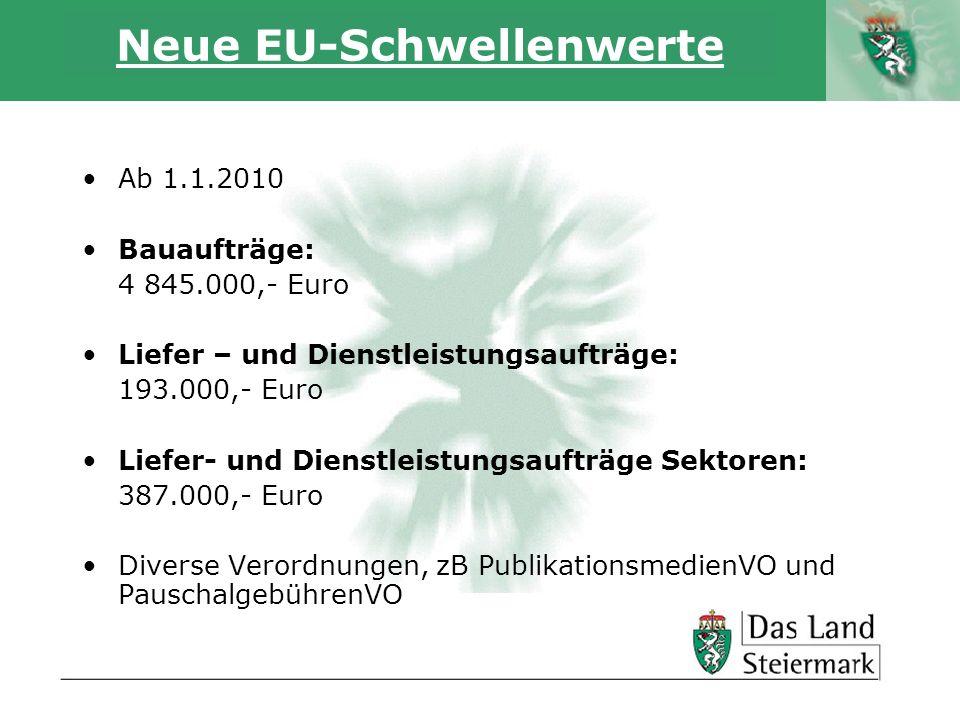 Autor Neue EU-Schwellenwerte Ab 1.1.2010 Bauaufträge: 4 845.000,- Euro Liefer – und Dienstleistungsaufträge: 193.000,- Euro Liefer- und Dienstleistung