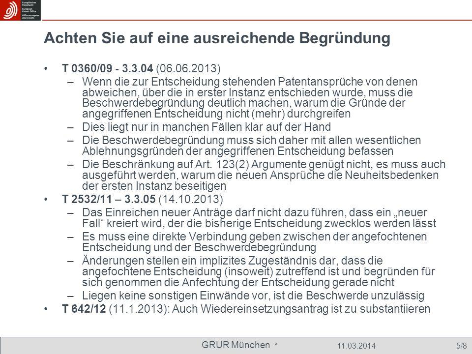 GRUR München ° 11.03.2014 6/8 Den Beschwerdeführer richtig bezeichnen T 0445/08 - 3.3.07 (30.01.2012) OJ 2012, 588 ff., jetzt anhängig als G 0001/12 –Bei formal ausreichender, aber inhaltlich falscher Bezeichnung des Beschwerdeführenden (ZENON Environmental Inc; Patent aber eingetragen auf ZENON Technology Partnership) ist sehr fraglich, ob Korrektur über Regel 101(2) oder Regel 139 möglich: vorgelegt an Große BK T 0052/10 - 3.2.01 (20.12.2012), Punkt 1 –Bei unklarer Bezeichnung, wer Beschwerdeführender ist, kommt es auf den objektiv erkennbaren Willen des Handelnden an –Hat ein Anwalt schon im Einspruchsverfahren vertreten, bezeichnet Wir legen hiermit Beschwerde ein im Zweifel die vertretene Person, nicht dagegen die Sozietät oder den Anwalt in Person; ebenso: T 1911/09 - 3.2.05 (27.09.2012), Punkt 2.2.2 –Angabe beider Einsprechender im Rubrum ist unschädlich, wenn bislang nur eine Einsprechende von diesem Anwalt vertreten wurde –Angabe der (wegen Umfirmierung) veralteten Bezeichnung der Partei im Rubrum ist ebenfalls unschädlich T 1961/09 – 3.2.06 (26.6.2013), Leitsatz und Punkt 1.9 und 1.14 –Bei objektiv unzureichender Bezeichnung, die inhaltichen Fehler nahelegt und objektiven Hinweisen in der Akte, wer mit hinreichender Wahrscheinlichkeit Beschwerdeführer sein soll, ist Berichtigung über Regel 101(2) EPÜ möglich; keine Vorlage nötig; Bezugnahme auf T 0097/98.