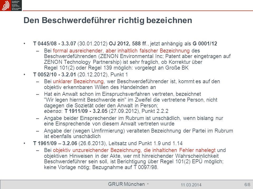 GRUR München ° 11.03.2014 27/8 Hilfslösungen in der bisherigen Rechtsprechung Art.