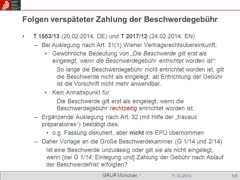 GRUR München ° 11.03.2014 29/8 Aus der Entscheidung G 9/91 Vorlagefrage: –Muß die Einspruchsabteilung bei der Prüfung des Einspruchs alle in Artikel 100 EPÜ aufgeführten Einspruchsgründe überprüfen, oder ist die Prüfung auf die vom Einsprechenden in der Einspruchsbegründung vorgetragenen Einspruchsgründe beschränkt.
