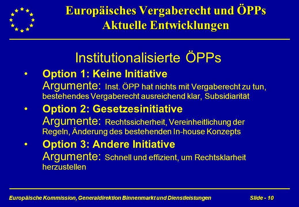 Europäische Kommission, Generaldirektion Binnenmarkt und DienstleistungenSlide - 10 Europäisches Vergaberecht und ÖPPs Aktuelle Entwicklungen Institut