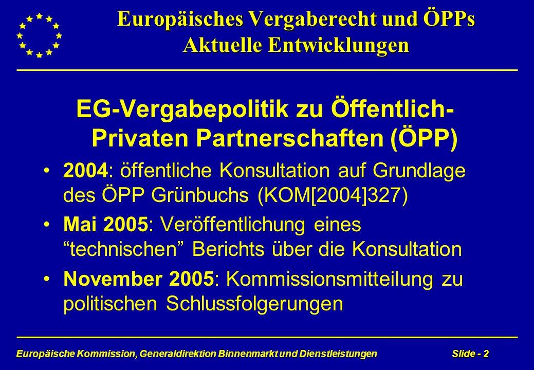 Europäische Kommission, Generaldirektion Binnenmarkt und DienstleistungenSlide - 2 Europäisches Vergaberecht und ÖPPs Aktuelle Entwicklungen EG-Vergab