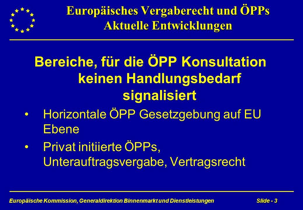 Europäische Kommission, Generaldirektion Binnenmarkt und DienstleistungenSlide - 3 Europäisches Vergaberecht und ÖPPs Aktuelle Entwicklungen Bereiche,