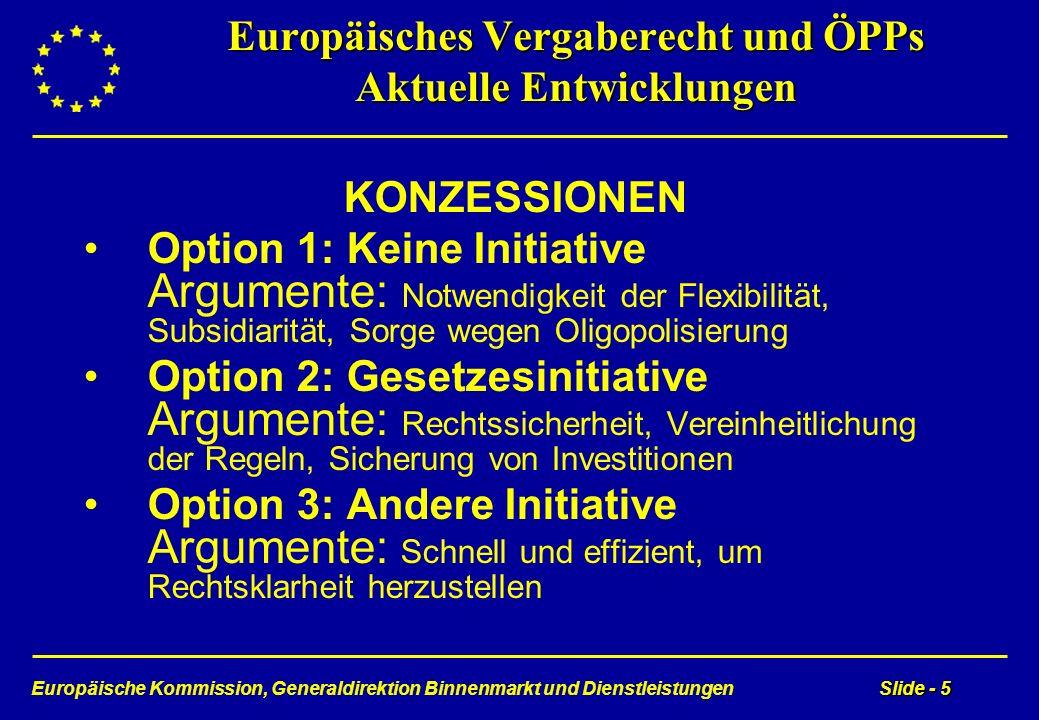 Europäische Kommission, Generaldirektion Binnenmarkt und DienstleistungenSlide - 5 Europäisches Vergaberecht und ÖPPs Aktuelle Entwicklungen KONZESSIO