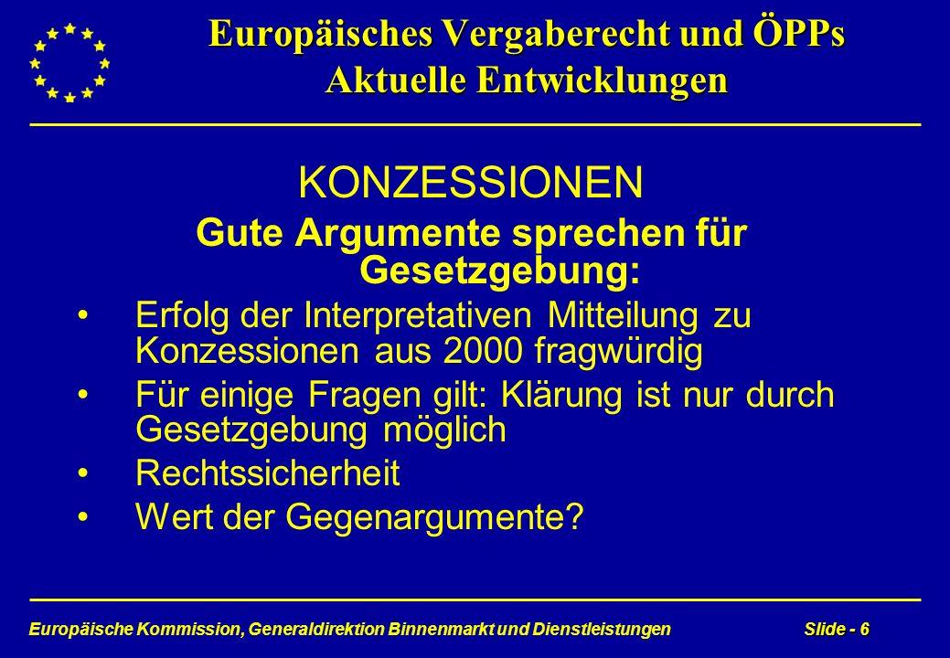Europäische Kommission, Generaldirektion Binnenmarkt und DienstleistungenSlide - 6 Europäisches Vergaberecht und ÖPPs Aktuelle Entwicklungen KONZESSIO